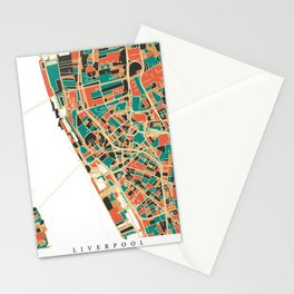 Liverpool City Map - Multicolour Stationery Cards