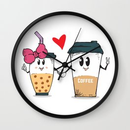 Miss.Bubble Milk Tea and Mr.Coffee say Hello for everyone Wall Clock