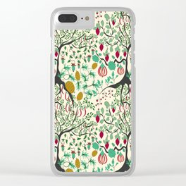 Fairy seamless pattern garden with plants, tree and flowers Clear iPhone Case