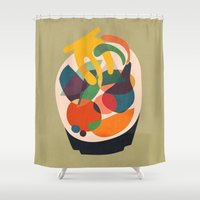 wooden Shower Curtains featuring Fruits in wooden bowl by Picomodi