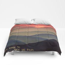 Sunset Cross Landscape Comforters