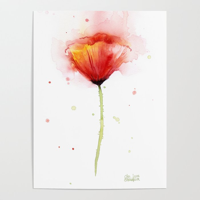 Red poppy flower watercolor abstract poppies floral poster by red poppy flower watercolor abstract poppies floral poster mightylinksfo