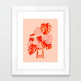 Coral Monstera Framed Art Print