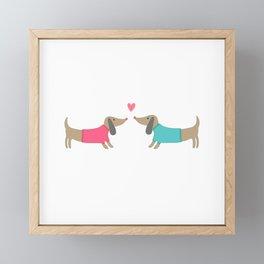 Cute dog lovers in love with heart Framed Mini Art Print