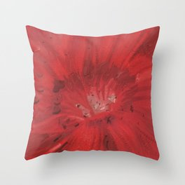 Digital Red Flower Painting Throw Pillow