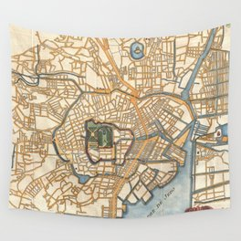 Vintage Map of Tokyo Japan (1752) Wall Tapestry
