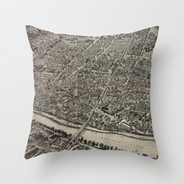 Vintage Pictorial Map of New Brunswick NJ (1910) Throw Pillow