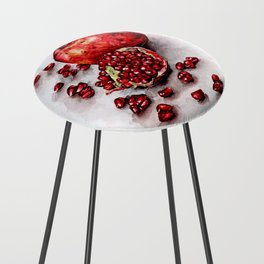 Red pomegranate watercolor art painting Counter Stool