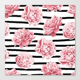 Simply Drawn Stripes and Roses Canvas Print