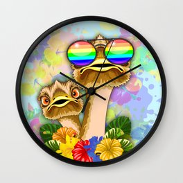 Ostrich Hawaii Fashion Funny Dudes Wall Clock