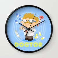 doctor Wall Clocks featuring Doctor by Alapapaju