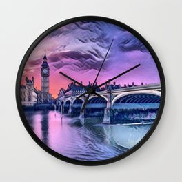 Big Ben with Sunset (London, England) Wall Clock