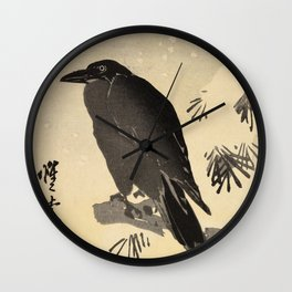 Crow by Kawanabe Kyosai, Japanese Woodblock Print Wall Clock
