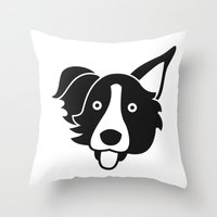 border collie Throw Pillows featuring Border Collie by anabelledubois