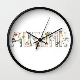 autumn doodles Wall Clock