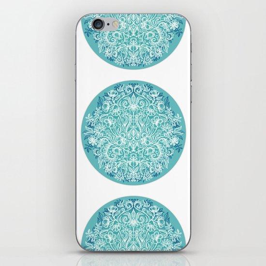 Spring Arrangement - teal & white floral doodle iPhone & iPod Skin