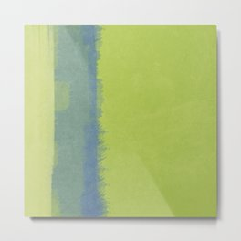 Artistic Watercolor Wash:  Spring Green with Blue Bar Metal Print