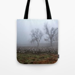 Foggy Cotton Field Tote Bag