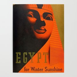 1930's Art Deco Travel Poster - Egypt for Winter Sunshine featuring Great Sphinx of Giza Poster
