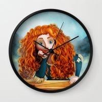 merida Wall Clocks featuring Merida The Brave by This Is Niniel Illustrator