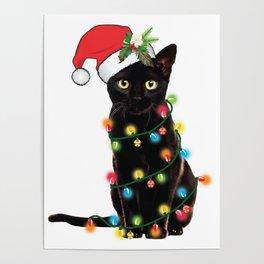 Santa Black Cat Tangled Up In Lights Christmas Santa Graphic Poster