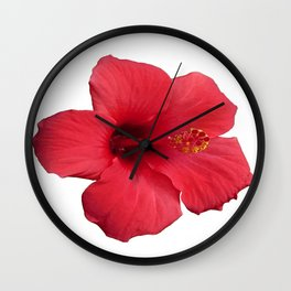 Stunning Red Hibiscus Flower Wall Clock