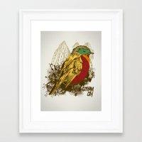 robin Framed Art Prints featuring Robin by Krikoui