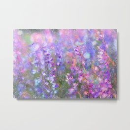 Field of Tall Purple Flowers Impressionist Painting Metal Print
