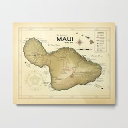 Maui [Vintage Inspired] Kokua Logo Road Map Metal Print