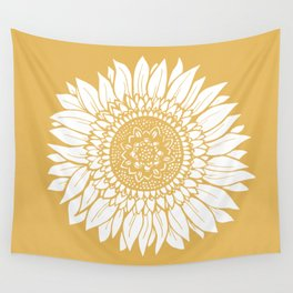 Yellow Sunflower Drawing Wall Tapestry