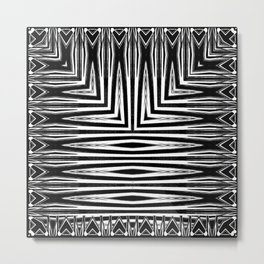 Geometric Black and White African Inspired Pattern Metal Print