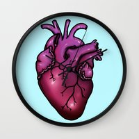 anatomical heart Wall Clocks featuring Anatomical Heart by Hungry Designs