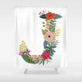 Monogram Letter J Shower Curtain