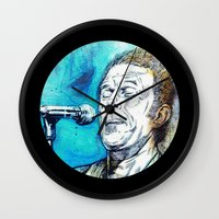 tom waits Wall Clocks featuring Blue Tom Waits by Mark Matlock