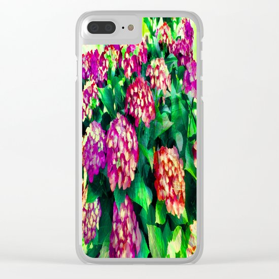 Garden Hydrangea - Raspberry Pink and Lavender Clear iPhone Case