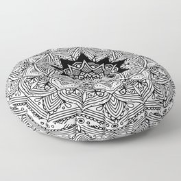 paisley black and white hippie boho mandala Floor Pillow