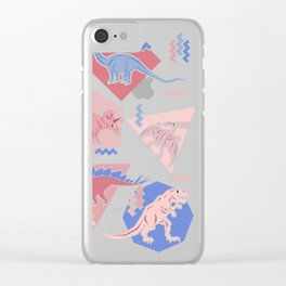 Nineties Dinosaurs Pattern  - Rose Quartz and Serenity version Clear iPhone Case