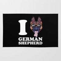 german shepherd Area & Throw Rugs featuring I Love German Shepherd modern v2 by Vehicle