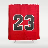 chicago bulls Shower Curtains featuring Michael 23 Jordan Chicago Bulls by Rorzzer