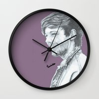 louis tomlinson Wall Clocks featuring LOUIS TOMLINSON by Mimirainb0w