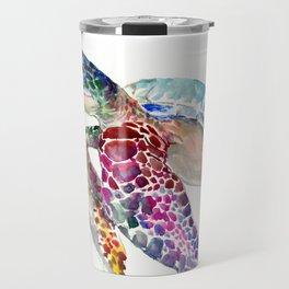 Sea Turtle, swimming turtle art, purple blue design animal art Travel Mug
