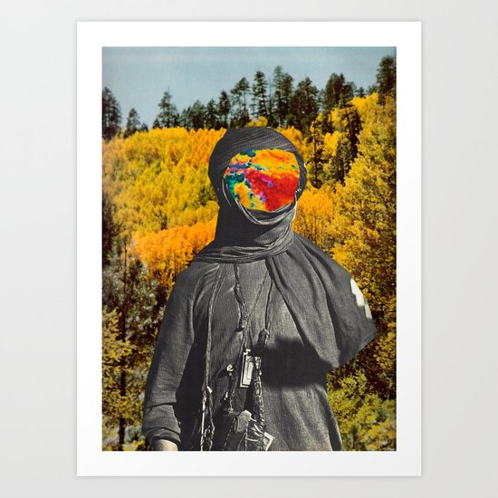 Colored Face in the Woods Art Print