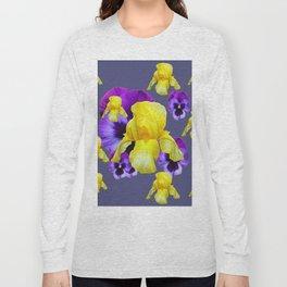 COLLAGE OF CHARCOAL GREY PURPLE PANSIES YELLOW IRIS Long Sleeve T-shirt