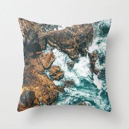 Rocky Coast Print, Aerial Print, Aerial Coastal Art, Ocean Wall Art, Ocean Waves, Coastal Decor Throw Pillow