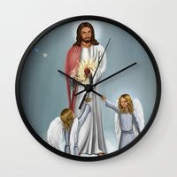 christ Wall Clocks featuring Jesus Christ by Georgi Minkov