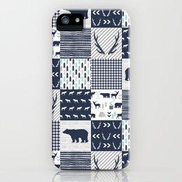 Camper antlers bears pattern minimal nursery basic navy mint grey white camping cabin chalet decor iPhone Case
