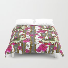 RED-YELLOW  ORIENTAL STYLE BUTTERFLIES & PINK ROSES GREY PATTERN DESIGN FROM SOCIETY6   BY SHARLESAR Duvet Cover