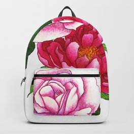 Rose and Peony Flowers Backpack