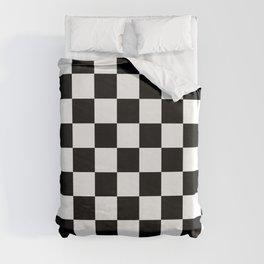 pattern checkerboard black white gift idea Duvet Cover