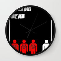 the walking dead Wall Clocks featuring The Walking Dead Minimalist by Joe Hilditch
